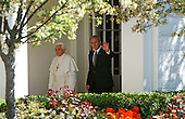 Pope Benedict XVI (L) and U.S. President George W. Bush (R) are seen together at the White House in Washington, D.C. USA on 16 April 2008. Today is the second day of the pope's visit to the United States.  Today is also  the 81st birthday of the pope.
