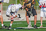 Palos Verdes, CA 03/31/10 - Andrew Giltner (PV # 6) and Denny Noh (Peninsula # 22) in action during the Peninsula-Palos Verdes Junior Varsity Lacrosse game at Palos Verdes High School.  Palos Verdes defeated Peninsula.