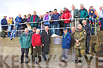 At the opening of Kells Pier renovation & extension were front l-r Eamon Langfor,Pat Golden, Pat Kavanagh, Ceann Comhairle Mr John O'Donoghue, John O'Connor, John Golden, Theo Halter, Paddy Brennan & watching from above some locals who came out to brave the elements.