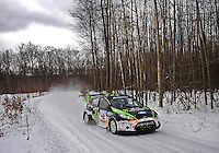 Jan. 26, 2010; Gladwin, MI, USA; Rally racer Ken Block and co-driver Alex Gelsomino during a private test on a county road in northern Michigan. Mandatory Credit: Mark J. Rebilas
