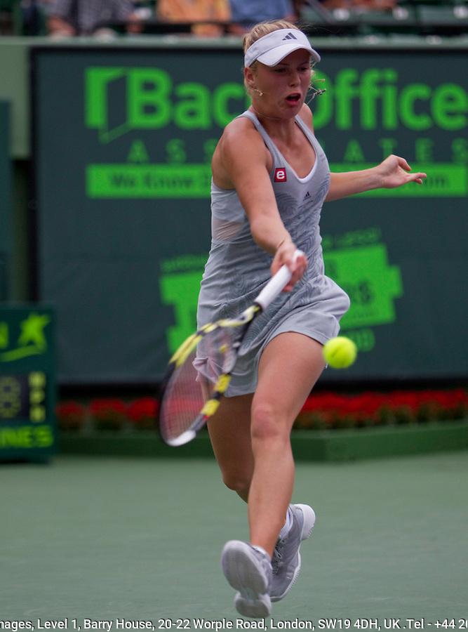 Caroline WOZNIACKI (DEN) against Mariya KIRILENKO (RUS) in the third round of the women's singles. Wozniacki beat Kirilenko 1-6 6-1 6-2..International Tennis - 2010 ATP World Tour - Sony Ericsson Open - Crandon Park Tennis Center - Key Biscayne - Miami - Florida - USA - Sun 28th Mar 2010..© Frey - Amn Images, Level 1, Barry House, 20-22 Worple Road, London, SW19 4DH, UK .Tel - +44 20 8947 0100.Fax -+44 20 8947 0117