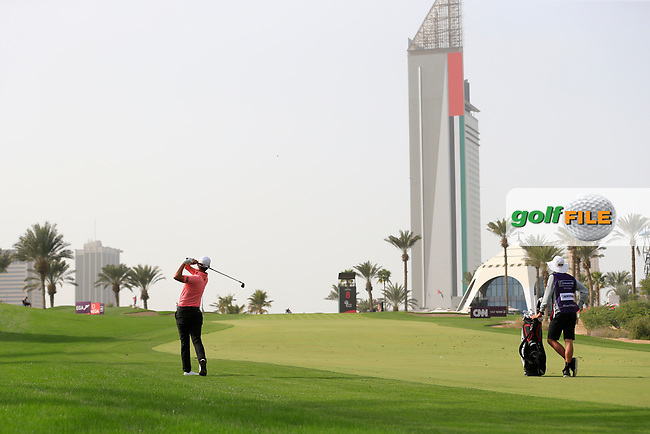 Jason Scrivener (AUS) on the 8th during Round 2 of the Omega Dubai Desert Classic, Emirates Golf Club, Dubai,  United Arab Emirates. 25/01/2019<br /> Picture: Golffile | Thos Caffrey<br /> <br /> <br /> All photo usage must carry mandatory copyright credit (&copy; Golffile | Thos Caffrey)