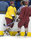 Stephen Gionta, Chris Collins - The Boston College Eagles practiced on Wednesday, April 5, 2006, at the Bradley Center in Milwaukee, Wisconsin, in preparation for their 2006 Frozen Four Semi-Final game against the University of North Dakota.