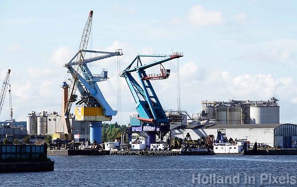 Nederland - Amsterdam - 2018. Kranen in de Coenhaven.  Foto Berlinda van Dam / Hollandse Hoogte.