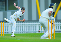 Wellington's Hamish Bennett bowls on day one of the Plunket Shield cricket match between the Wellington Firebirds and Otago Volts at Basin Reserve in Wellington, New Zealand on Monday, 21 October 2019. Photo: Dave Lintott / lintottphoto.co.nz