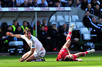 Pictured: Swansea's Michu (L) claims a free kick.<br />