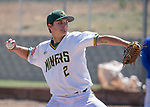 Manogue's Angelo Reviglio throws against Reno in the NIAA 4A Northern Regional Baseball Championship at Galena High School in Reno, Nevada on Saturday, May 12, 2018.