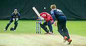 ICC World T20 Qualifier (Warm up match) - Scotland V Jersey at Heriots CC, Edinburgh - Jersey bat Dominic Blampied avoids a bouncer from Scotland bowler Richie Berrington — credit @ICC/Donald MacLeod - 06.7.15 - 07702 319 738 -clanmacleod@btinternet.com - www.donald-macleod.com