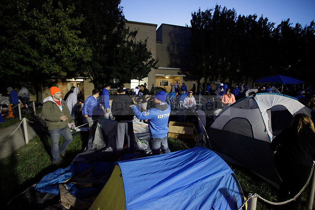 Fans set up tents outside of Memorial Coliseum to camp for Big Blue Madness tickets the morning of on Wednesday, Sept. 19, 2012. Photo by Latara Appleby | Staff
