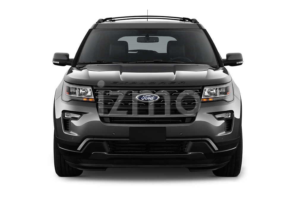 Car photography straight front view of a 2018 Ford Explorer XLT 5 Door SUV