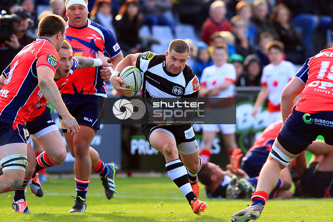 Chris Eaton in the Tasman Makos vs Hawkes Bay Magpies ITM Cup rugby match held at Lansdowne Park, Blenheim 17th August 2014. Photo Gavin Hadfield / Shuttersport