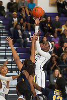 Cedar Ridge Raider Lashann Higgs shoots a jumper over Stony Point's Jaiton Walls Saturday at Cedar Ridge.  The Raiders beat the Tigers 66-58.  (LOURDES M SHOAF for Round Rock Leader.)
