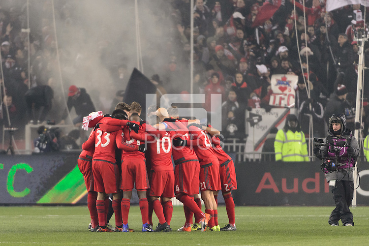 Toronto, ON, Canada - Saturday Dec. 10, 2016: Toronto FC huddle prior to the MLS Cup finals at BMO Field. The Seattle Sounders FC defeated Toronto FC on penalty kicks after playing a scoreless game.