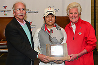 Mike King, President and CEO of Volunteers of America and Kathy Whitworth are shown with Haru Nomura (JPN) and her trophy for winning the the Volunteers of America Texas Shootout Presented by JTBC, at the Las Colinas Country Club in Irving, Texas, USA. 4/30/2017.<br /> Picture: Golffile | Ken Murray<br /> <br /> <br /> All photo usage must carry mandatory copyright credit (&copy; Golffile | Ken Murray)
