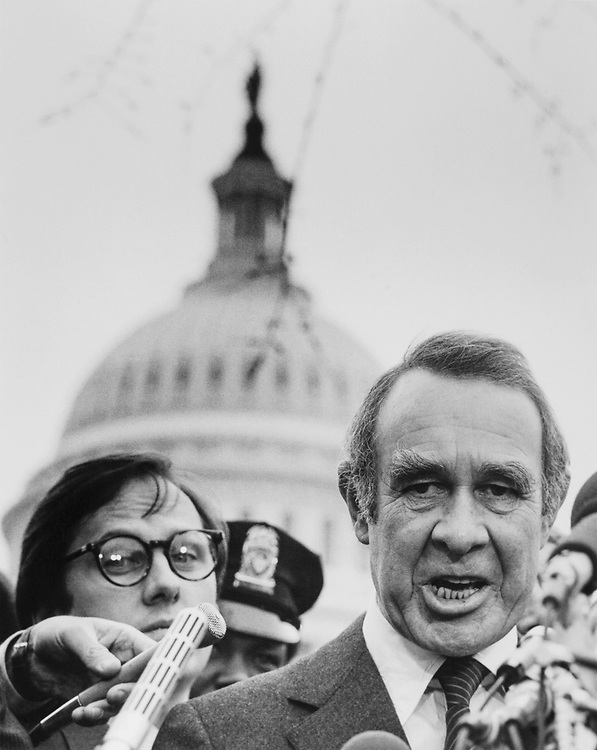 Sen. Harrison A. Williams, D-N.J. at a press conference near Capitol Hill. (Photo by CQ Roll Call)