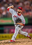 15 August 2017: Los Angeles Angels pitcher Bud Norris on the mound in relief against the Washington Nationals at Nationals Park in Washington, DC. The Nationals defeated the Angels 3-1 in the first game of their 2-game series. Mandatory Credit: Ed Wolfstein Photo *** RAW (NEF) Image File Available ***