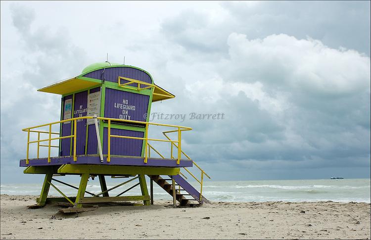 Art Deco Lifeguard Hut.on South Beach Miami, Florida.08-26-2005.Photo by © Fitzroy Barrett 2005