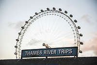 'Thames River Trips' with The London Eye behind, South Bank, London, England