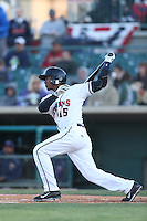 Teoscar Hernandez #15 of the Lancaster JetHawks bats against the Lake Elsinore Storm at The Hanger on April 4, 2014 in Lancaster, California. Lake Elsinore defeated Lancaster, 6-1. (Larry Goren/Four Seam Images)