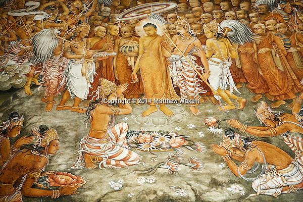 A painting of Bodhisattva Avalokitesvara at the Kelaniya Temple in Kelaniya, Sri Lanka. The Kelaniya Raja Maha Vihara or Kelaniya Temple is a Buddhist temple in Kelaniya, Sri Lanka, seven miles from Colombo. The spot on which this temple stands derived its sanctity in the Buddhist era 2531, with the third visit of the Buddha to this country.Over 70 percent of Sri Lanka's population practices Buddhism.