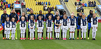 Columbus, Ohio - Thursday March 01, 2018: Starting line up of France during a 2018 SheBelieves Cup match between the women's national teams of the England (ENG) and France (FRA) at MAPFRE Stadium.
