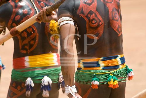 Xingu Indigenous Park, Mato Grosso State, Brazil. Aldeia Afukuri (Kuikuro). Festival of Taquara.