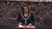 In this image from United States Senate television, US Representative Val Demings (Democrat of Florida), a manager on the part of the US House, makes opening remarks concerning an amendment to US Senate Resolution 483, during the impeachment trial of US President Donald J. Trump in the US Senate in the US Capitol in Washington, DC on Tuesday, January 21, 2020.<br /> Mandatory Credit: US Senate Television via CNP