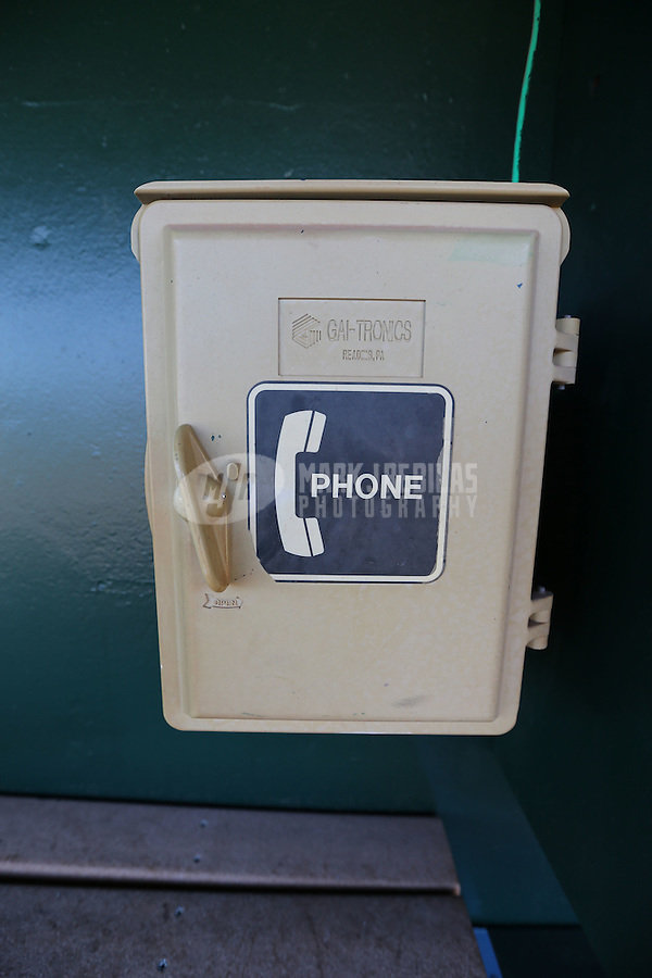 Feb. 12, 2013; Tempe, AZ, USA: Detailed view of the bullpen phone in the Los Angeles Angels dugout during spring training at Tempe Diablo Stadium. Mandatory Credit: Mark J. Rebilas-USA TODAY Sports