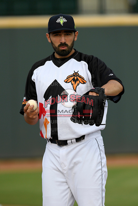 Starting pitcher Colin Holderman (11) of the Columbia Fireflies wears a Stand Up To Cancer jersey before a game against the Lexington Legends on Thursday, June 13, 2019, at Segra Park in Columbia, South Carolina. Lexington won, 10-5. (Tom Priddy/Four Seam Images)