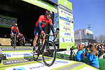 Sonny Colbrelli (ITA) Bahrain-Merida at sign on before the 2019 E3 Harelbeke Binck Bank Classic 2019 running 203.9km from Harelbeke to Harelbeke, Belgium. 29th March 2019.<br /> Picture: Eoin Clarke | Cyclefile<br /> <br /> All photos usage must carry mandatory copyright credit (© Cyclefile | Eoin Clarke)