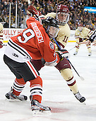 Garrett Vermeersch (Northeastern - 9), Pat Mullane (BC - 11) - The Boston College Eagles defeated the Northeastern University Huskies 7-1 in the opening round of the 2012 Beanpot on Monday, February 6, 2012, at TD Garden in Boston, Massachusetts.