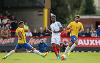 Reece Oxford (West Ham United) of England plays a pass under pressure during the International match between England U20 and Brazil U20 at the Aggborough Stadium, Kidderminster, England on 4 September 2016. Photo by Andy Rowland / PRiME Media Images.