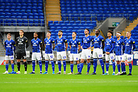 Cardiff City players line up prior to kick off for the FA Cup third round match between Cardiff City and Carlisle United at the Cardiff City Stadium in Cardiff, Wales, UK. Saturday 04 January 2020