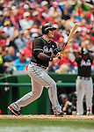 15 May 2016: Miami Marlins first baseman Justin Bour in action against the Washington Nationals at Nationals Park in Washington, DC. The Marlins defeated the Nationals 5-1 in the final game of their 4-game series.  Mandatory Credit: Ed Wolfstein Photo *** RAW (NEF) Image File Available ***