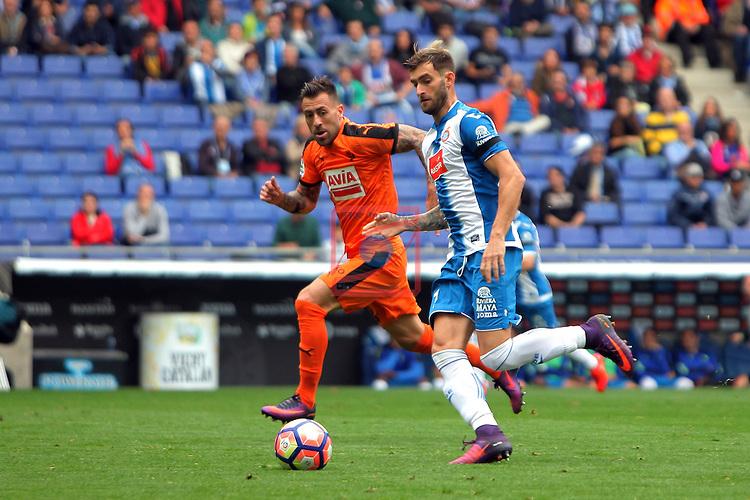 League Santander 2016/2017. Game: 9.<br /> RCD Espanyol vs SD Eibar: 3-3.<br /> Kike vs Leo Baptistao.