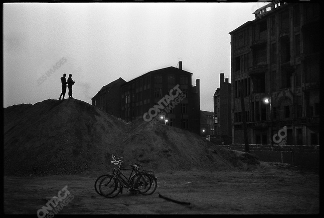 Looking into East Berlin from a mound near a portion of the Berlin Wall at the time of it's construction, West Berlin, Germany, November 1961