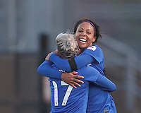 Boston Breakers forward Sydney Leroux (2) celebrates her goal with teammates.  In a National Women's Soccer League Elite (NWSL) match, the Boston Breakers (blue) defeated Chicago Red Stars (white), 4-1, at Dilboy Stadium on May 4, 2013.