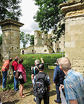 VMI Vincentian Heritage Tour: The Rev. Edward Udovic, C.M., leads members of the Vincentian Mission Institute cohort as they tour the remains of the medieval castle Le château de Folleville, Wednesday, June 22, 2016, in northern France. The manor and castle of Folleville were the property of Philippe Emmanuel de Gondi. Vincent de Paul was the spiritual advisor to Phillippe's wife, Madame de Gondi. The site is also home of Church of Saint-Jacques-Le-Majeur et Saint-Jean-Baptiste, where Vincent spoke in 1617, a sermon credited for the creation of the Congregation of the Mission. (DePaul University/Jamie Moncrief)