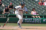 May 22, 2014; Stockton, CA, USA; Pepperdine Waves catcher Aaron Barnett during the WCC Baseball Championship at Banner Island Ballpark.