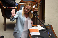 The leader of Fratelli d'Italia party Giorgia Meloni during the information about the next European Council at the Chamber of Deputies. Rome (Italy), July 15th 2020<br /> Foto Pool Paolo Tre Insidefoto