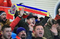 19th November 2019; Ballymena Showgrounds, Ballymena, Antrim County, Northern Ireland; European Under 21 Championships 2021 Qualifier, Northern Ireland Under 21 versus Romania Under 21; Romanian fans have turned up in their hundreds to support their countrymen - Editorial Use