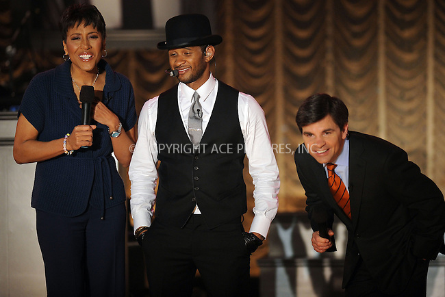 WWW.ACEPIXS.COM . . . . . ....March 30 2010, New York City....Recording artist Usher (with Robin Roberts and George Stephanopolos) performed live on ABC's 'Good Morning America' tv show at the Nokia Theatre on March 30, 2010 in New York City. ....Please byline: KRISTIN CALLAHAN - ACEPIXS.COM.. . . . . . ..Ace Pictures, Inc:  ..tel: (212) 243 8787 or (646) 769 0430..e-mail: info@acepixs.com..web: http://www.acepixs.com