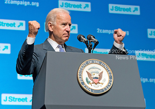 U.S. Vice President Joe Biden addresses the 4th National J Street Conference at the Washington Convention Center in Washington, D.C. on Monday, September 30, 2013.  In his remarks, the Vice President reiterated the administration's steadfast support for Israel and the two-state solution.    <br /> Credit: Ron Sachs