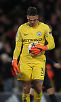 Dejected Ederson of Manchester City holds the ball close during the Champions League Quarter Final 1st Leg, match at Anfield Stadium, Liverpool. Picture date: 4th April 2018. Picture credit should read: Simon Bellis/Sportimage