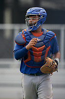 GCL Mets catcher Juan Loyo (9) during a Gulf Coast League game against the GCL Astros on August 10, 2019 at FITTEAM Ballpark of the Palm Beaches Training Complex in Palm Beach, Florida.  GCL Astros defeated the GCL Mets 8-6.  (Mike Janes/Four Seam Images)