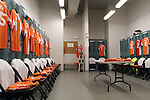 30 October 2010: The Carolina RailHawks locker room is prepared before the game. The Puerto Rico Islanders won the 2010 USSF-D2 championship 3-1 on aggregate goals after playing the Carolina RailHawks to a 1-1 tie in the second leg of the Finals in a game played at WakeMed Stadium in Cary, North Carolina.