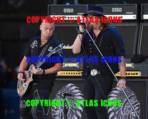 WEST PALM BEACH, FL - MAY 04: Tim Rossi and Jeff Shields of Blackfoot perform at The Coral Sky Amphitheatre on May 4, 2018 in West Palm Beach Florida. Credit Larry Marano © 2018