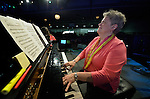 Sally Morris plays the piano during an April 27, 2014, worship service at the United Methodist Women's Assembly in the Kentucky International Convention Center in Louisville, Kentucky. Morris is director of music at Parkway Presbyterian Church and chapel musician at Wake Forest University School of Divinity in Winston-Salem, North Carolina.