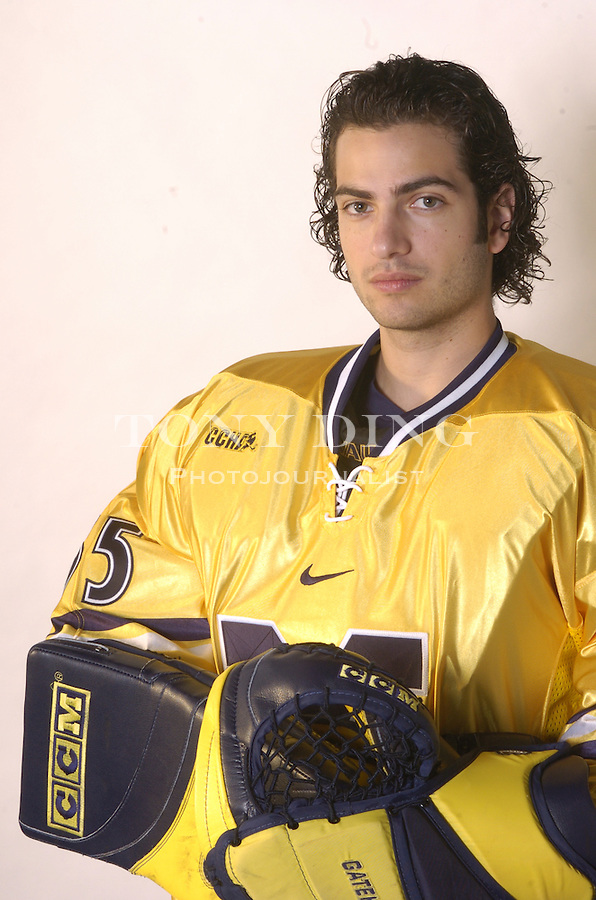 .Michigan Hockey player portrait taken at Yost Ice Arena in Ann Arbor, Mich on Monday, October 4, 2004. (Photo by TONY DING / Daily).Senior goaltender Al Montoya (35)..Michigan Hockey player portrait taken at Yost Ice Arena in Ann Arbor, Mich on Monday, October 4, 2004. (Photo by TONY DING / Daily).