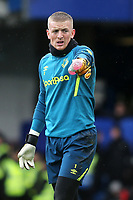 Everton goalkeeper, Jordan Pickford ahead of kick-off during Chelsea vs Everton, Premier League Football at Stamford Bridge on 8th March 2020